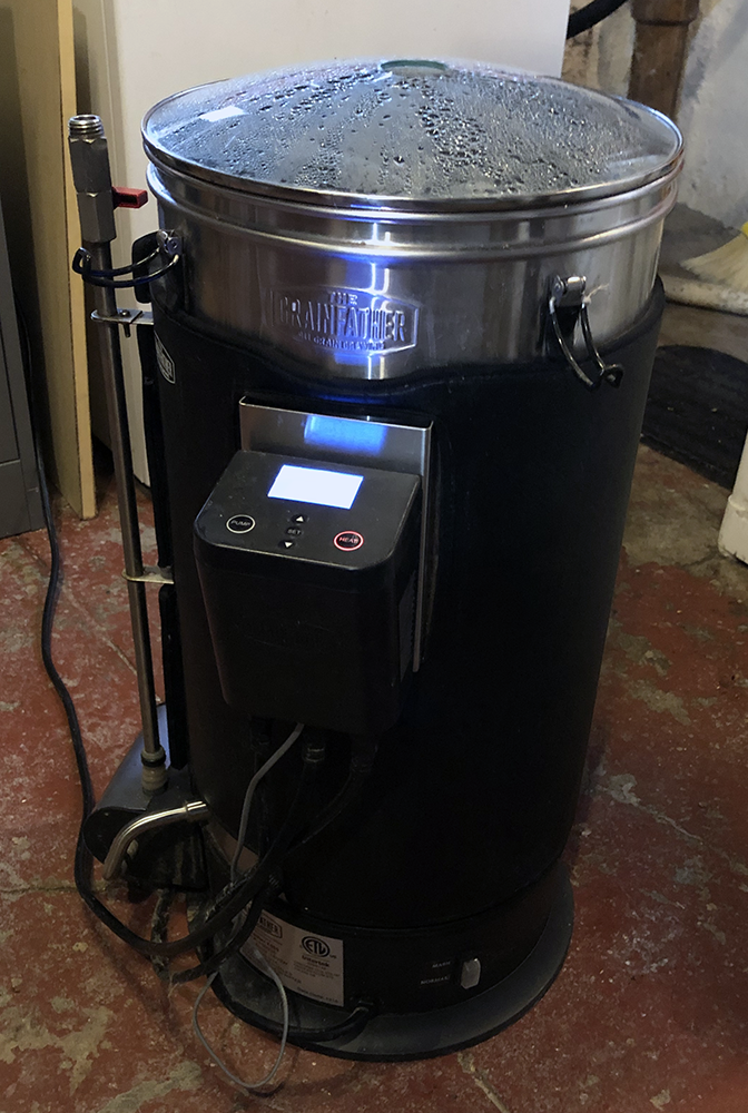 Grainfather all-in-one RIMS system, looks like a stainless steel hot water boiler. Grainfather. RIMS.