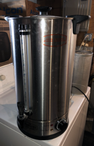 Grainfather sparge water heater, looks like a stainless steel hot water boiler.